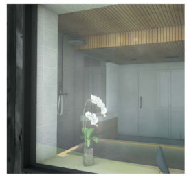 Banc intérieur dans la salle de bain